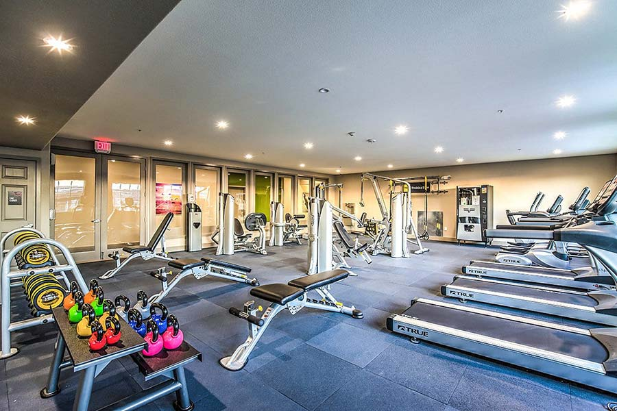Fully-equipped fitness center with treadmills, weights and weight machines, cardio equipment, and more.