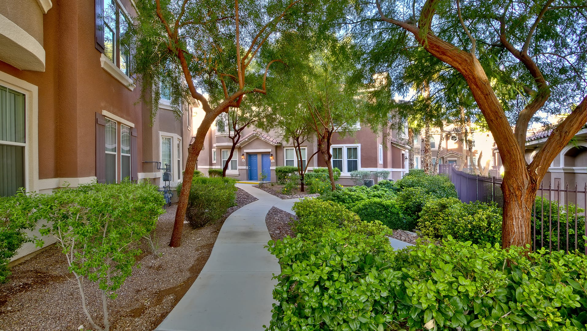 Paved paths, landscaping, and trees leading to apartment homes at Tesora.