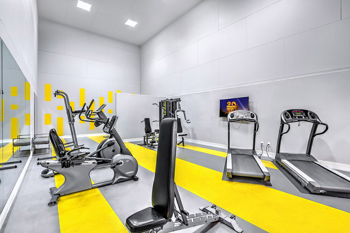 Spacious gym with cardio and weight machines, mirrored wall, and flat-screen TV.