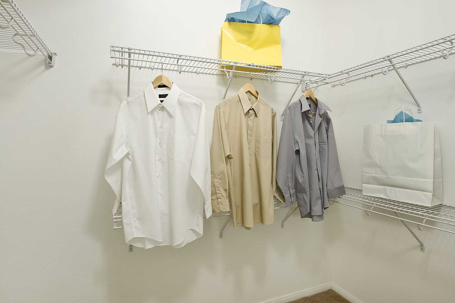 A spacious closets with a variety of shirts hanging from a closet rod and shopping bags placed on shelves.