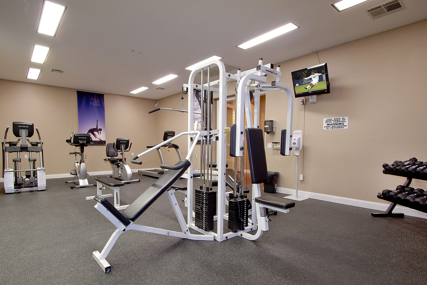 Tuscany's fitness center with a variety of weight machines, dumbbells, and cardio equipment.
