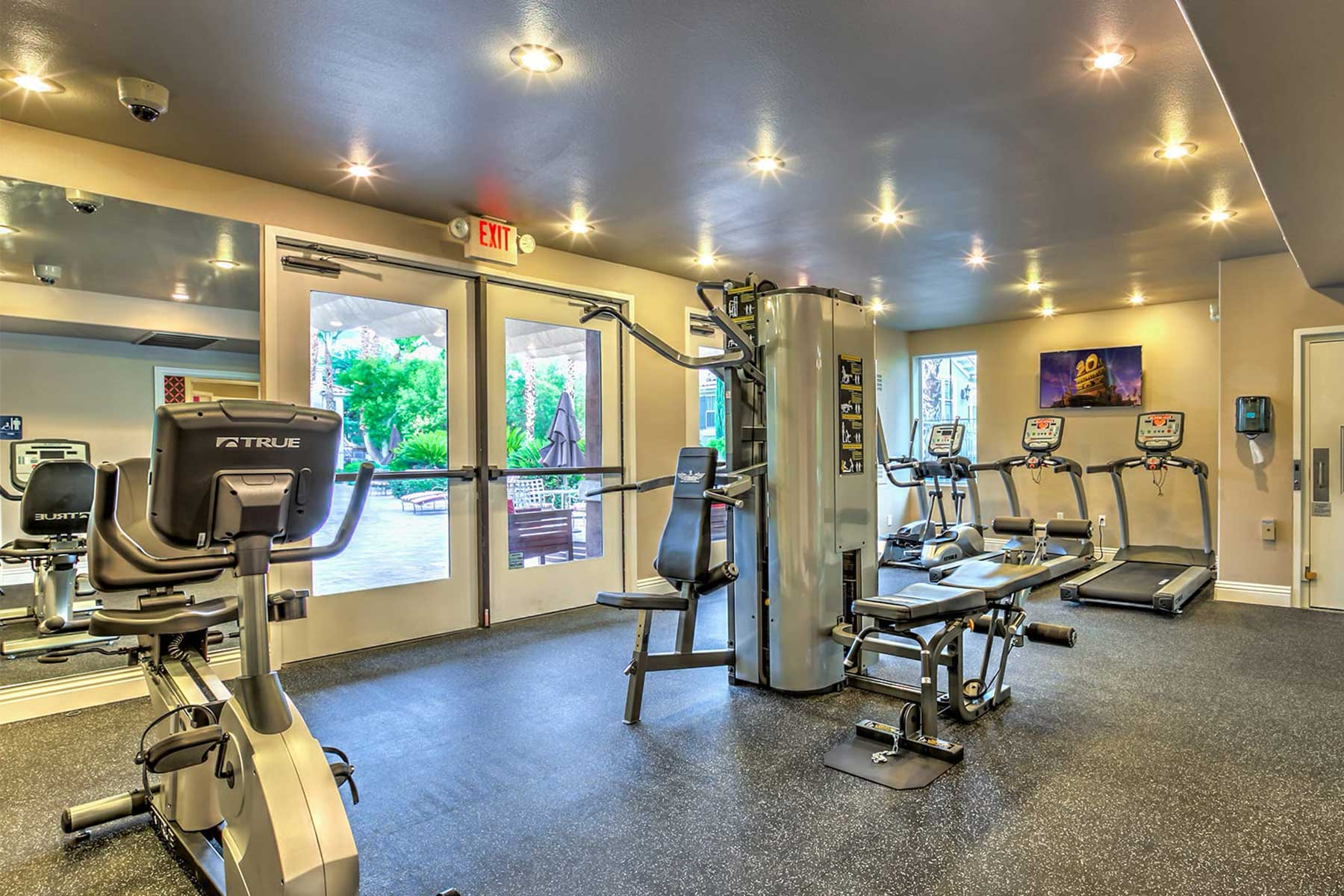 Venicia fitness center with weight machines and cardio equipment.