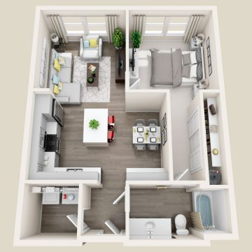 Rendering of the  1201 floor plan