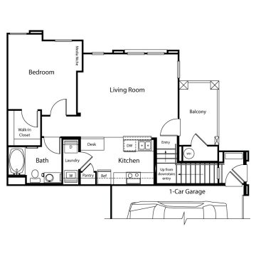 Rendering of the 1AU1 floor plan layout
