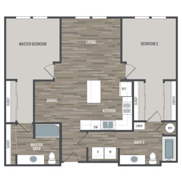 Rendering of the 2A floor plan layout