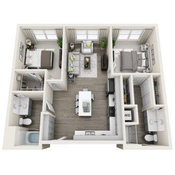 Rendering of the 2B floor plan layout