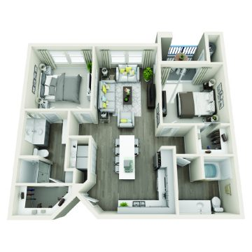 Rendering of the # 2212 floor plan