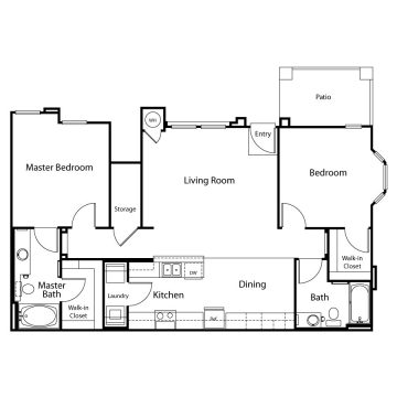 Rendering of the 2BD floor plan layout