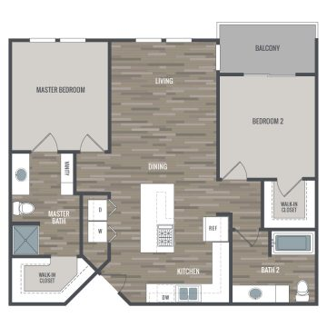 Rendering of the 2BE floor plan layout