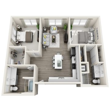 Rendering of the 2C floor plan layout