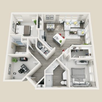 Rendering of the # 1304 floor plan