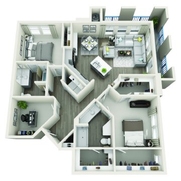 Rendering of the # 2214 floor plan