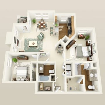 Rendering of the # 2122 floor plan