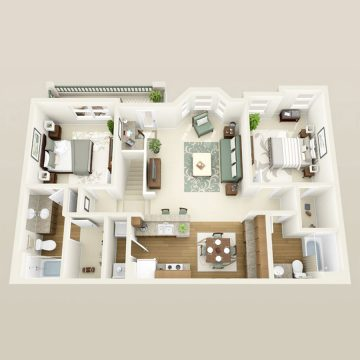 Rendering of the # 1216 floor plan
