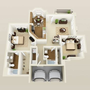 Rendering of the # 1196 floor plan