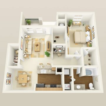 Rendering of the # 2102 floor plan