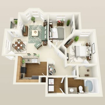 Rendering of the # 1127 floor plan