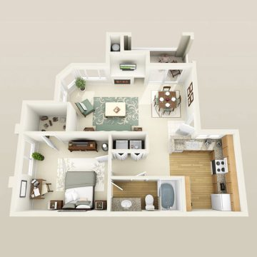 Rendering of the # 1812 floor plan