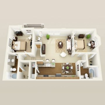 Rendering of the # 1091 floor plan
