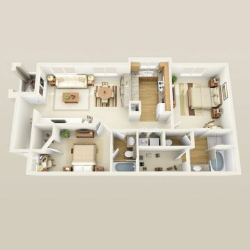 Rendering of the # 1724 floor plan