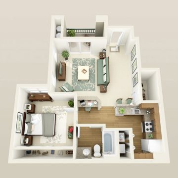 Rendering of the # 1193 floor plan
