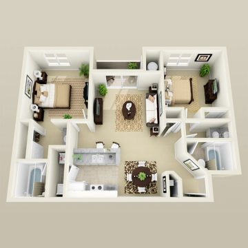 Rendering of the Trade Winds floor plan layout