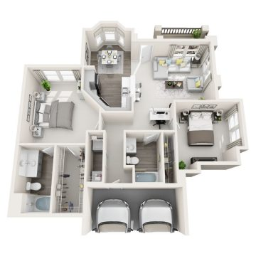 Rendering of the  622 floor plan