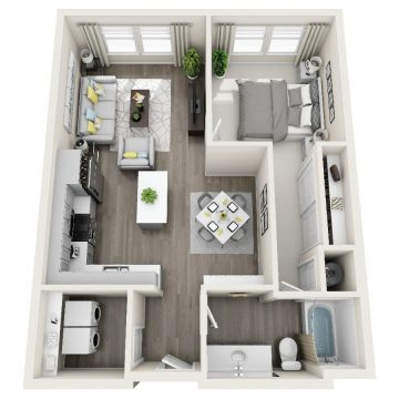 Rendering of the # 1106 floor plan