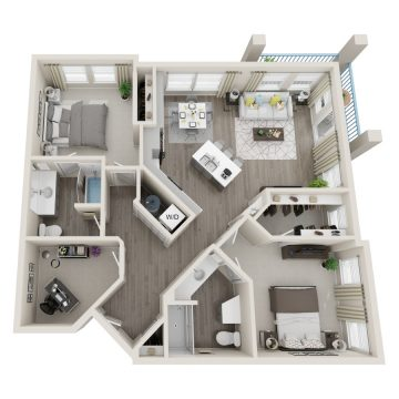 Rendering of the # 1052 floor plan